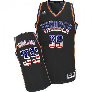Maillot NBA Authentic Kevin Durant #35 Oklahoma City Thunder USA Flag Fashion Noir - Homme