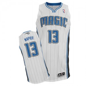 Maillot NBA Orlando Magic #13 Shabazz Napier Blanc Adidas Authentic Home - Homme