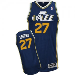 Maillot NBA Utah Jazz #27 Rudy Gobert Bleu marin Adidas Authentic Road - Homme
