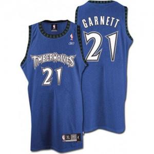 Maillot NBA Slate Blue Kevin Garnett #21 Minnesota Timberwolves Throwback Authentic Homme