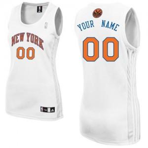 New York Knicks Authentic Personnalisé Home Maillot d'équipe de NBA - Blanc pour Femme