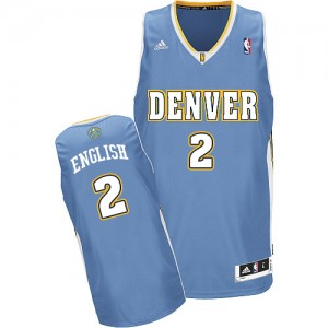 Denver Nuggets Alex English #2 Road Swingman Maillot d'équipe de NBA - Bleu clair pour Homme