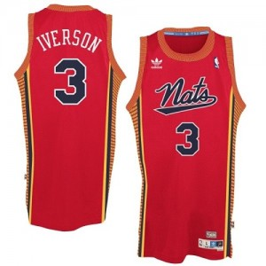 "Maillot NBA Rouge Allen Iverson #3 Philadelphia 76ers Throwback ""Nats"" Authentic Homme Adidas"