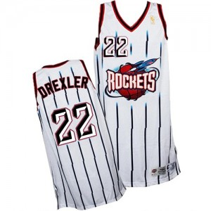 Maillot Authentic Houston Rockets NBA Throwback Blanc - #22 Clyde Drexler - Homme