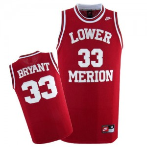 Maillot NBA Los Angeles Lakers #33 Kobe Bryant Rouge Nike Authentic Lower Merion High School - Homme