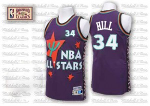 Maillot NBA Violet Tyrone Hill #34 Cleveland Cavaliers Throwback 1995 All Star Authentic Homme Adidas