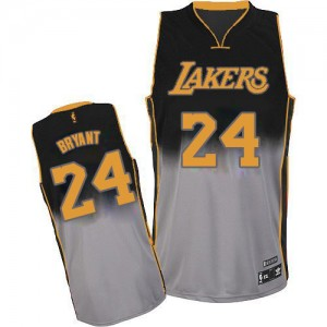 Maillot Adidas Gris noir Fadeaway Fashion Authentic Los Angeles Lakers - Kobe Bryant #24 - Homme