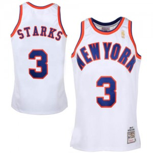 Maillot NBA Blanc John Starks #3 New York Knicks Throwback Swingman Homme Mitchell and Ness