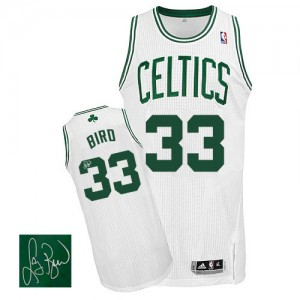 Maillot NBA Boston Celtics #33 Larry Bird Blanc Adidas Authentic Home Autographed - Homme