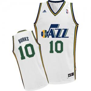 Maillot NBA Utah Jazz #10 Alec Burks Blanc Adidas Swingman Home - Homme