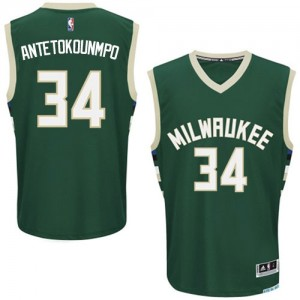 Maillot NBA Authentic Giannis Antetokounmpo #34 Milwaukee Bucks Road Vert - Homme