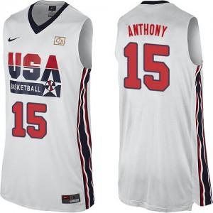 Maillot NBA Blanc Carmelo Anthony #15 Team USA 2012 Olympic Retro Swingman Homme Nike
