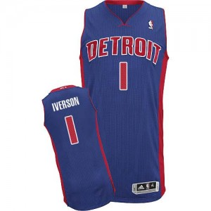 Maillot NBA Detroit Pistons #1 Allen Iverson Bleu royal Adidas Authentic Road - Homme