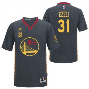 Maillot NBA Authentic Festus Ezeli #31 Golden State Warriors Slate Chinese New Year Noir - Homme