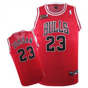 Maillot NBA Chicago Bulls #23 Michael Jordan Rouge Nike Swingman Throwback Champions Patch - Homme