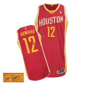 Maillot Adidas Rouge Alternate Autographed Authentic Houston Rockets - Dwight Howard #12 - Homme