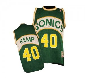 Oklahoma City Thunder Shawn Kemp #40 SuperSonics Throwback Authentic Maillot d'équipe de NBA - Vert pour Homme