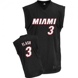 Maillot Adidas Noir Flash Fashion Authentic Miami Heat - Dwyane Wade #3 - Homme