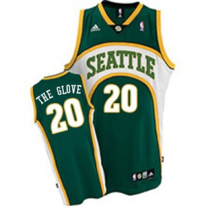 "Oklahoma City Thunder Mitchell and Ness Gary Payton #20 ""The Glove"" Throwback Authentic Maillot d'équipe de NBA - Vert pour Homme"