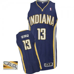 Maillot NBA Bleu marin Paul George #13 Indiana Pacers Road Autographed Authentic Homme Adidas