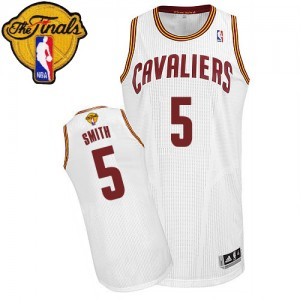 Maillot Authentic Cleveland Cavaliers NBA Home 2015 The Finals Patch Blanc - #5 J.R. Smith - Homme