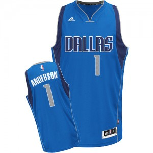 Maillot Adidas Bleu royal Road Swingman Dallas Mavericks - Justin Anderson #1 - Homme