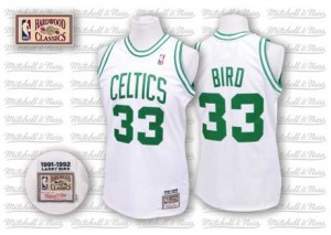 Maillot NBA Blanc Larry Bird #33 Boston Celtics Throwback Authentic Homme Mitchell and Ness