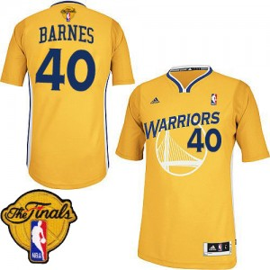 Maillot NBA Golden State Warriors #40 Harrison Barnes Or Adidas Swingman Alternate 2015 The Finals Patch - Homme