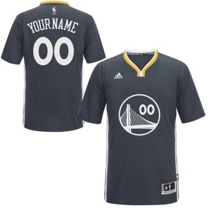 Maillot Adidas Noir Alternate Golden State Warriors - Authentic Personnalisé - Enfants