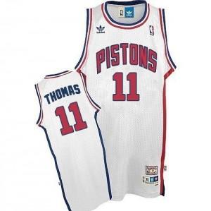 Detroit Pistons Isiah Thomas #11 Throwback Authentic Maillot d'équipe de NBA - Blanc pour Homme