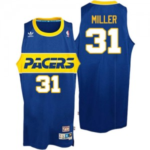 Indiana Pacers #31 Mitchell and Ness Throwback Bleu Authentic Maillot d'équipe de NBA prix d'usine en ligne - Reggie Miller pour Homme