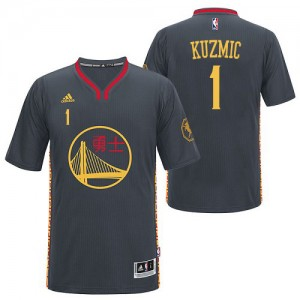 Maillot Adidas Noir Slate Chinese New Year Authentic Golden State Warriors - Ognjen Kuzmic #1 - Homme