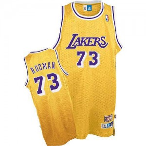 Maillot NBA Or Dennis Rodman #73 Los Angeles Lakers Throwback Authentic Homme Mitchell and Ness
