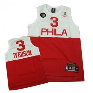 Philadelphia 76ers #3 10TH Throwback Blanc Rouge Authentic Maillot d'équipe de NBA boutique en ligne - Allen Iverson pour Homme