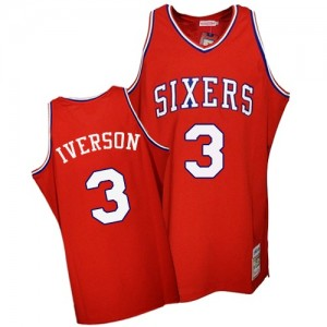 Philadelphia 76ers #3 Mitchell and Ness Throwback Rouge Authentic Maillot d'équipe de NBA Braderie - Allen Iverson pour Homme