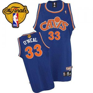 Maillot NBA Cleveland Cavaliers #33 Shaquille O'Neal Bleu Mitchell and Ness Authentic CAVS Throwback 2015 The Finals Patch - Homme