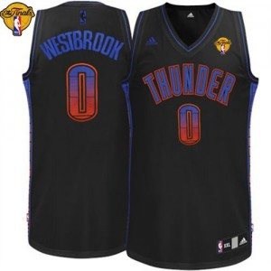 Maillot Swingman Oklahoma City Thunder NBA Vibe Finals Patch Noir - #0 Russell Westbrook - Homme
