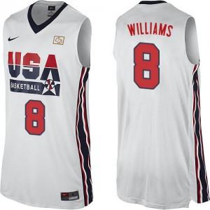Maillot NBA Blanc Deron Williams #8 Team USA 2012 Olympic Retro Swingman Homme Nike