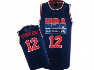 Maillots de basket Authentic Team USA NBA 2012 Olympic Retro Bleu marin - #12 John Stockton - Homme