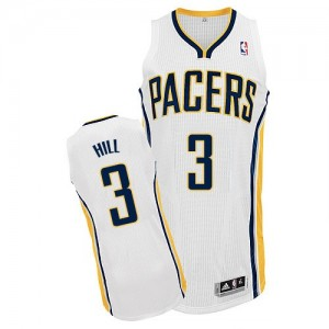 Maillot NBA Blanc George Hill #3 Indiana Pacers Home Authentic Homme Adidas