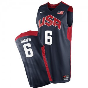 Team USA #6 Nike 2012 Olympics Bleu marin Swingman Maillot d'équipe de NBA la vente - LeBron James pour Homme