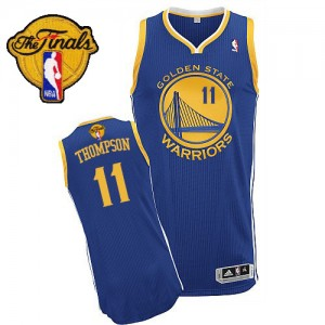 Maillot NBA Bleu royal Klay Thompson #11 Golden State Warriors Road 2015 The Finals Patch Authentic Homme Adidas