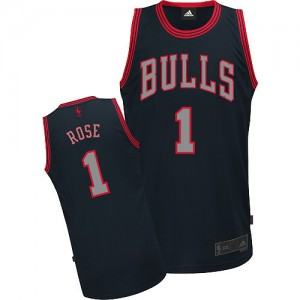 Maillot NBA Chicago Bulls #1 Derrick Rose Noir Adidas Authentic Graystone Fashion - Homme