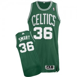 Maillot NBA Vert (No Blanc) Marcus Smart #36 Boston Celtics Road Authentic Homme Adidas