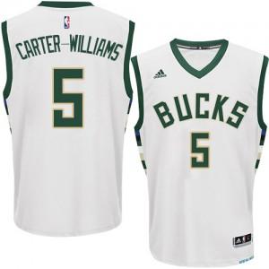 Maillot NBA Milwaukee Bucks #5 Michael Carter-Williams Blanc Adidas Authentic Home - Homme
