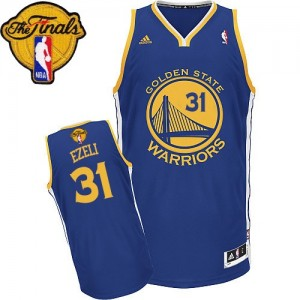 Maillot NBA Swingman Festus Ezeli #31 Golden State Warriors Road 2015 The Finals Patch Bleu royal - Homme