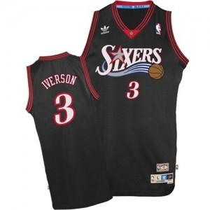 Maillot NBA Noir Allen Iverson #3 Philadelphia 76ers 1997-2009 Throwback Authentic Homme Adidas