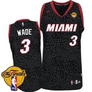 Maillot Adidas Noir Crazy Light Finals Patch Authentic Miami Heat - Dwyane Wade #3 - Homme