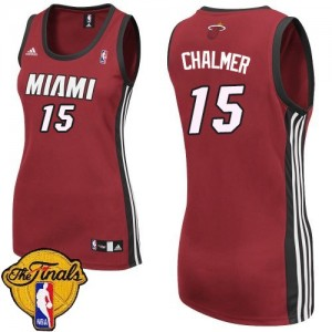 Maillot Adidas Rouge Alternate Finals Patch Swingman Miami Heat - Mario Chalmer #15 - Femme