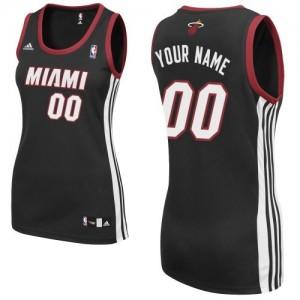 Maillot Adidas Noir Road Miami Heat - Swingman Personnalisé - Femme